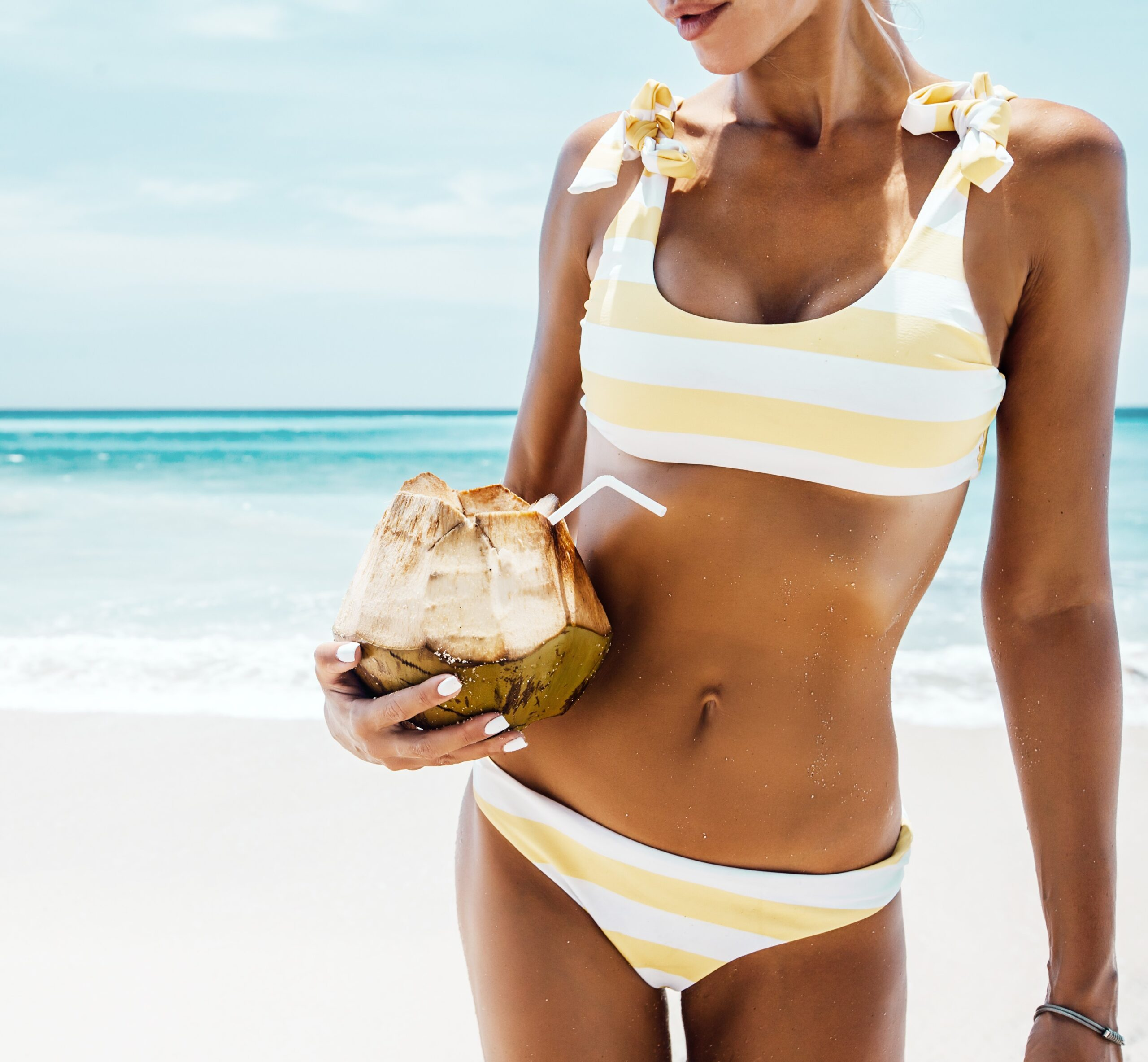 woman with coconut